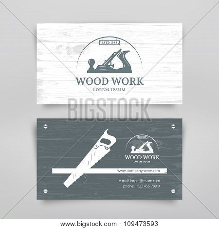 Woodwork vintage style business card design template. Carpentry tools. Vector poster