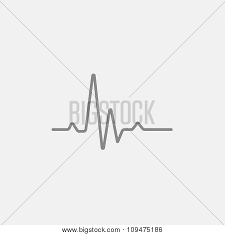 Heart beat cardiogram line icon for web, mobile and infographics. Vector dark grey icon isolated on light grey background.