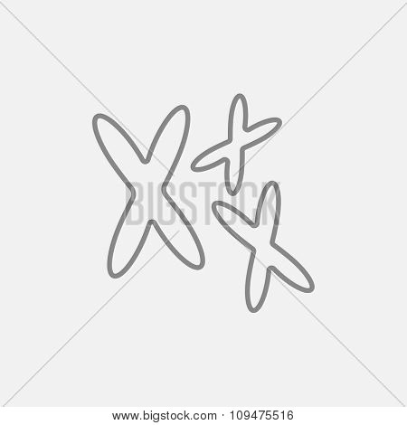 Chromosomes line icon for web, mobile and infographics. Vector dark grey icon isolated on light grey background.