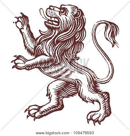 Vector Vintage Rampant Lion Line Drawing