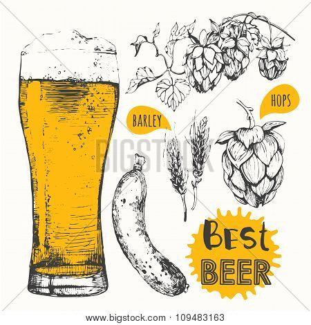 Vector illustration of beer and sausages. Pub menu.
