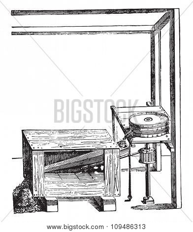 Mechanical sifter invented around 1552, after the Faust Veranzio, vintage engraved illustration. Industrial encyclopedia E.-O. Lami - 1875.