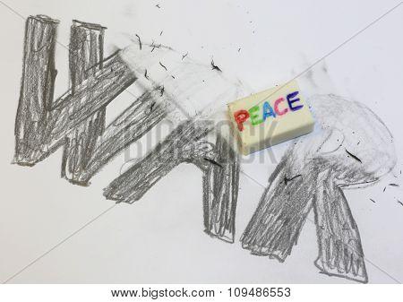 Eraser With Written Peace Deletes The Black Written War