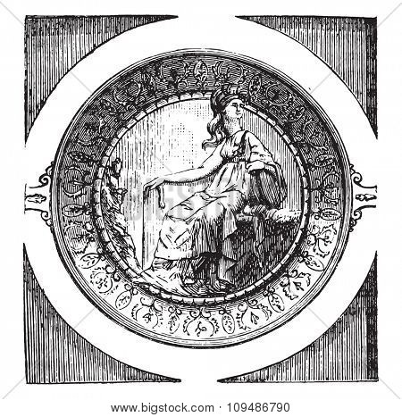 Hollow Cup treasure of Hildesheim, with the figure of Minerva in high relief, vintage engraved illustration. Industrial encyclopedia E.-O. Lami - 1875.