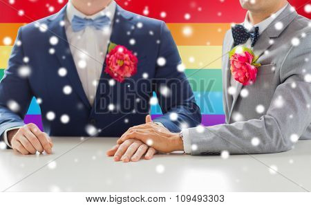people, homosexuality, same-sex marriage and love concept - close up of happy married male gay couple in suits with buttonholes holding hands on wedding over rainbow flag background and snow effect