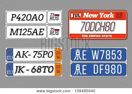 License car number plates vector set. USA, European Union, China, Russia