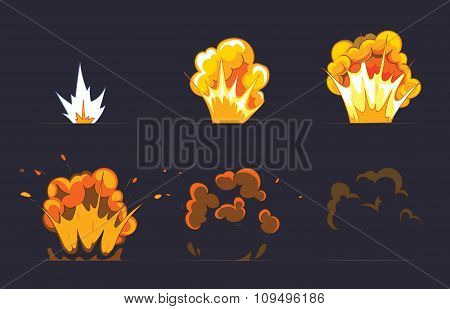 Cartoon explosion effect with smoke. Vector animation frames for game
