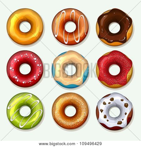 Donuts vector icons set in cartoon style