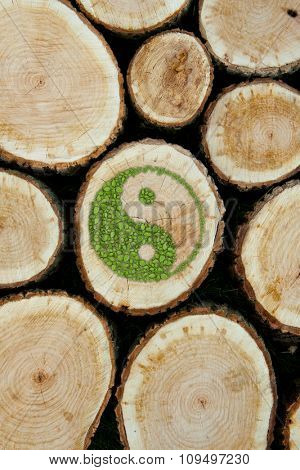 Stacked Logs Background with ying yang symbol of harmony. poster