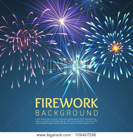 Festive firework abstract vector background