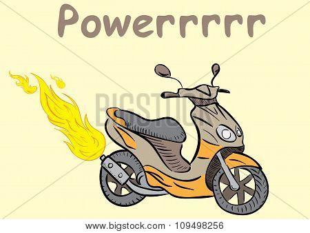 Powerful fiery scooter