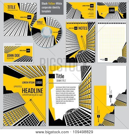 Architectural firm corporate business design. Vector templates set