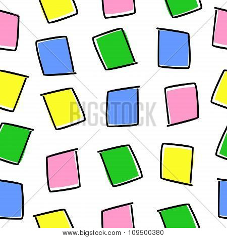 seamless pattern with colored squares on a white background