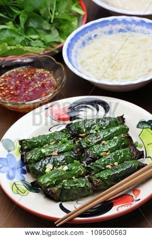 grilled minced beef wrapped in betel leaf, vietnamese cuisine, thit bo nuong la lot poster