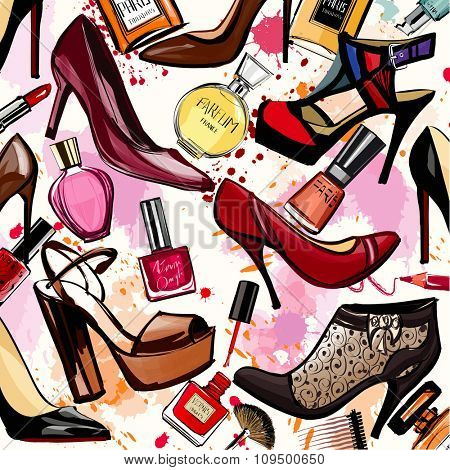 Watercolor cosmetics and shoes collection - Vector illustration