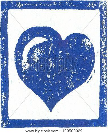 Blue Heart - Linocut print