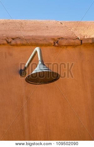 Detail showers of the terrace on patio Marrakesh Riad poster