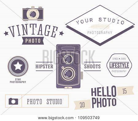 Set of retro photo logos