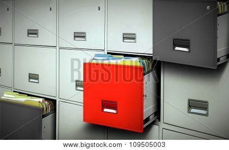 File Cabinet With Files And Open Drawers