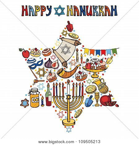 Hanukkah greeting card.Israel symbols in David Star.Doodles