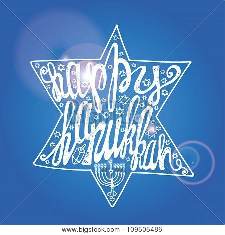 Happy Hanukkah lettering in sparkling David Star