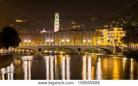 Ponte della Vittoria a bridge in Verona - Italy poster