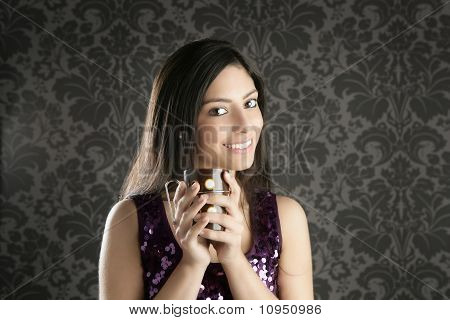 Coffee Cup Brunette Beautiful Woman Retro Portrait