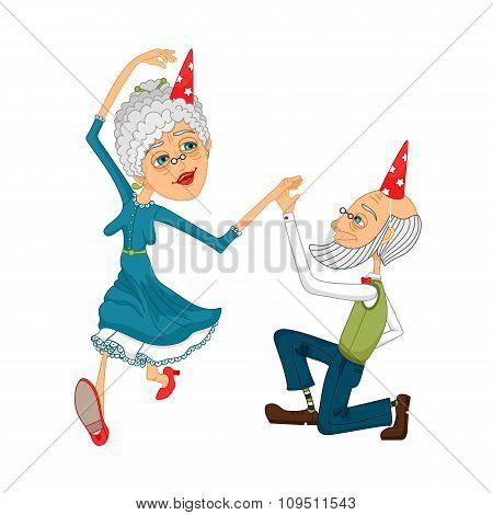 Grandma is dancing with Grandpa
