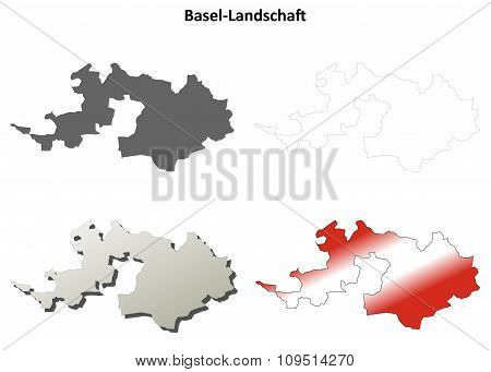 Basel-Landschaft blank detailed outline map set