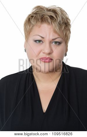 Portrait of sad fat woman, isolated on white background