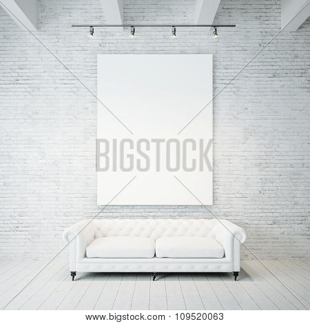 Photo of empty canvas on the brick wall background and vintage classic sofa. 3d render