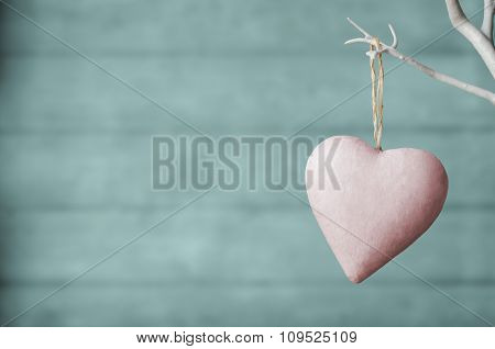 Pink Heart On White Tree With Turquoise Wood Plank Background