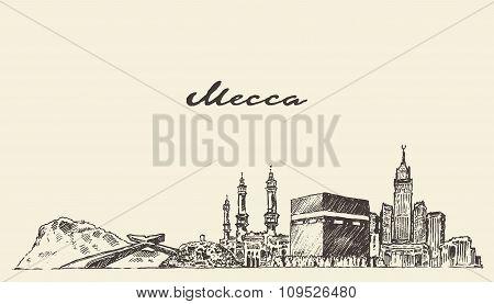 Mecca skyline vector illustration hand drawn