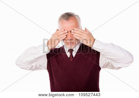 Handsome Confident Businessman With Gray Beard Shutting Eyes