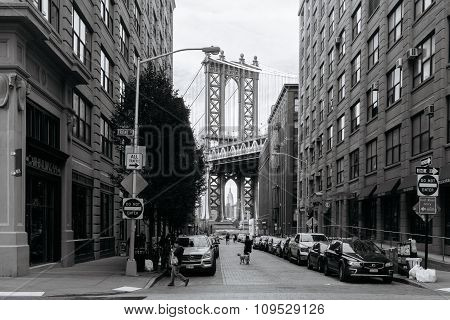 View Of Manhattan Bridge From Brooklyn In New York.