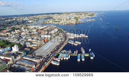 MANAUS, BRAZIL - CIRCA OCTOBER 2015: Aerial View of Port of Manaus, Amazonas Brazil