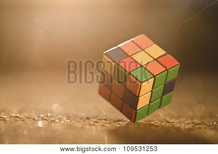 Rubik cube on the ground