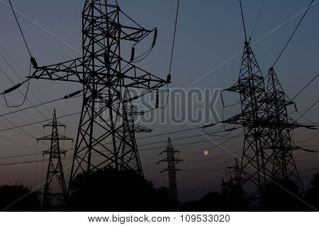 Reliance Power Line Against The Night Sky