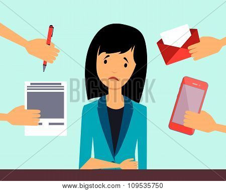Depressed business woman. Business concept. Vector illustration