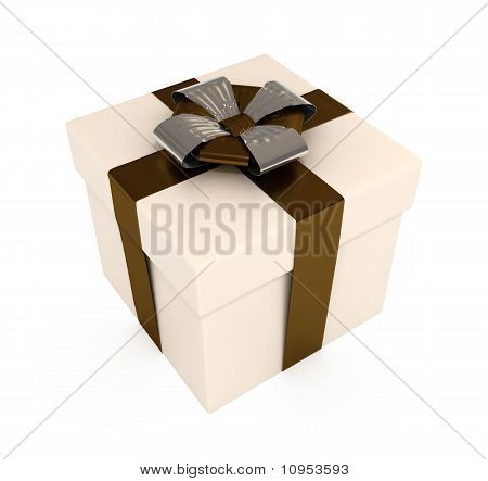 Present Box with Ribbons and Bows, Isolated on White