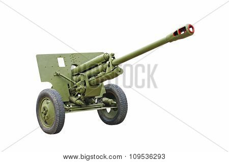 The 76-mm Russian division cannon gun from WWII isolated on white background. poster