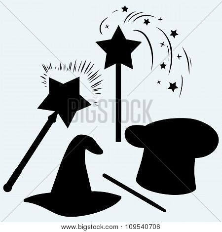 Set magic hat with magic wand sparkles