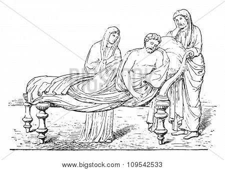 Roman bed, vintage engraved illustration. Private life of Ancient-Antique family-1881.