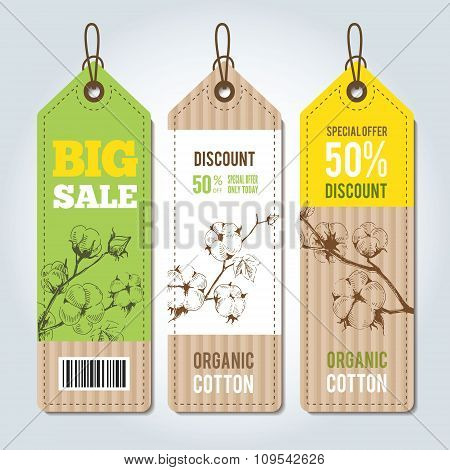 Vector tags for clothing template whith cotton.