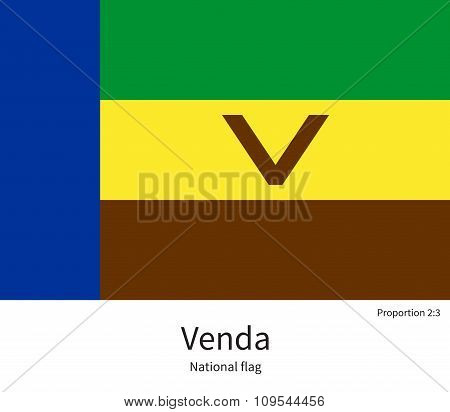 National flag of Venda with correct proportions, element, colors
