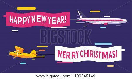 Plane flying with Merry Christmas banners