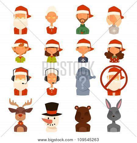 Santa Claus family wife, kids vector avatars