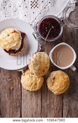 Delicious English Scones With Jam And Tea. Vertical Top View