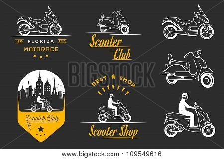 Set Vector Vintage Sign And Logos Scooter