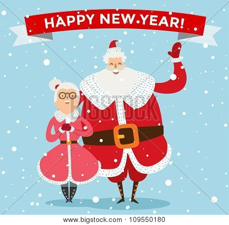 Santa and Missis Claus cartoot family vector